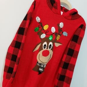 Red and Black Plaid Reindeer Christmas Sweater🦌